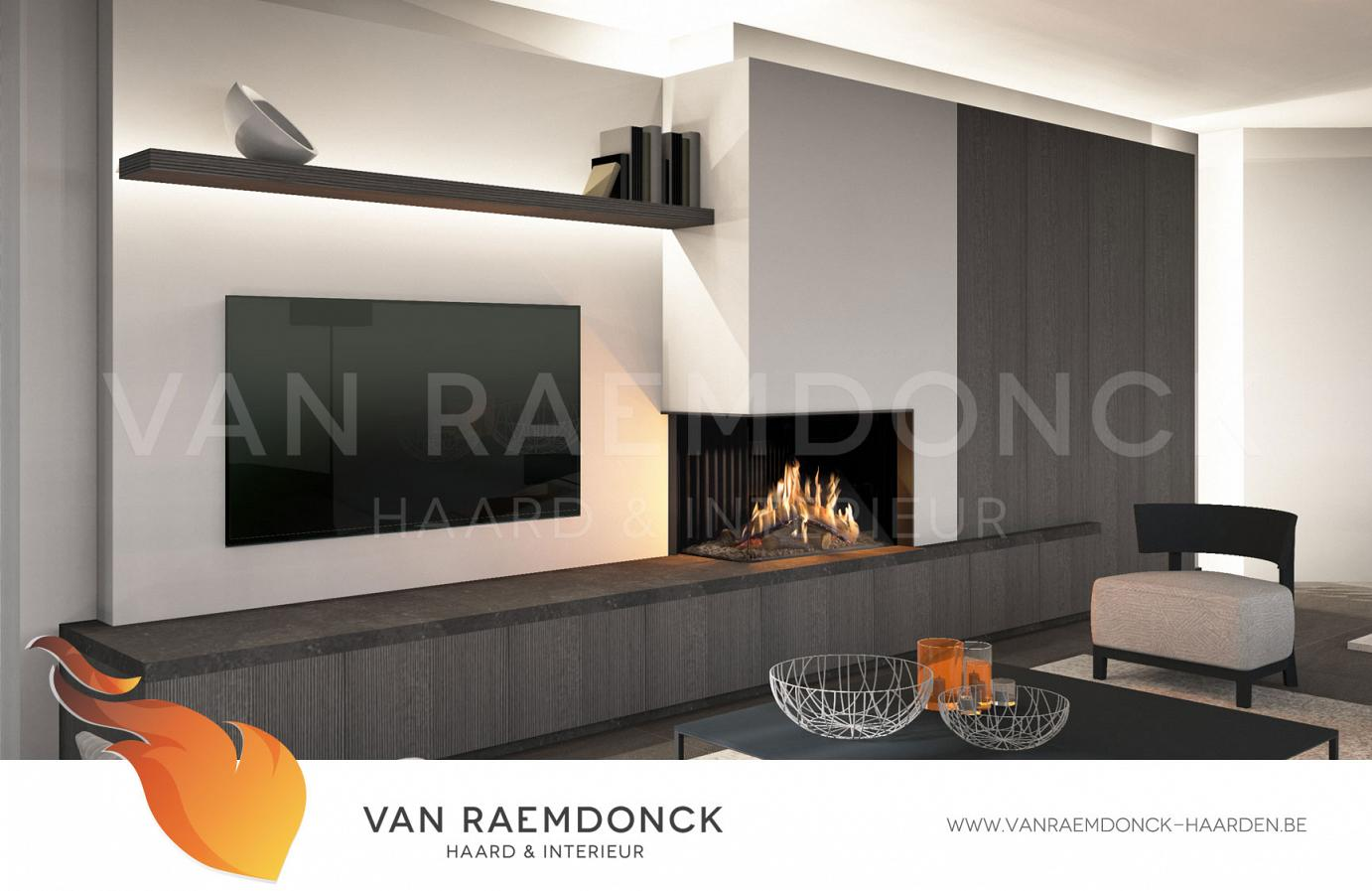 moderne hoekhaard met tv van raemdonck haard interieur. Black Bedroom Furniture Sets. Home Design Ideas