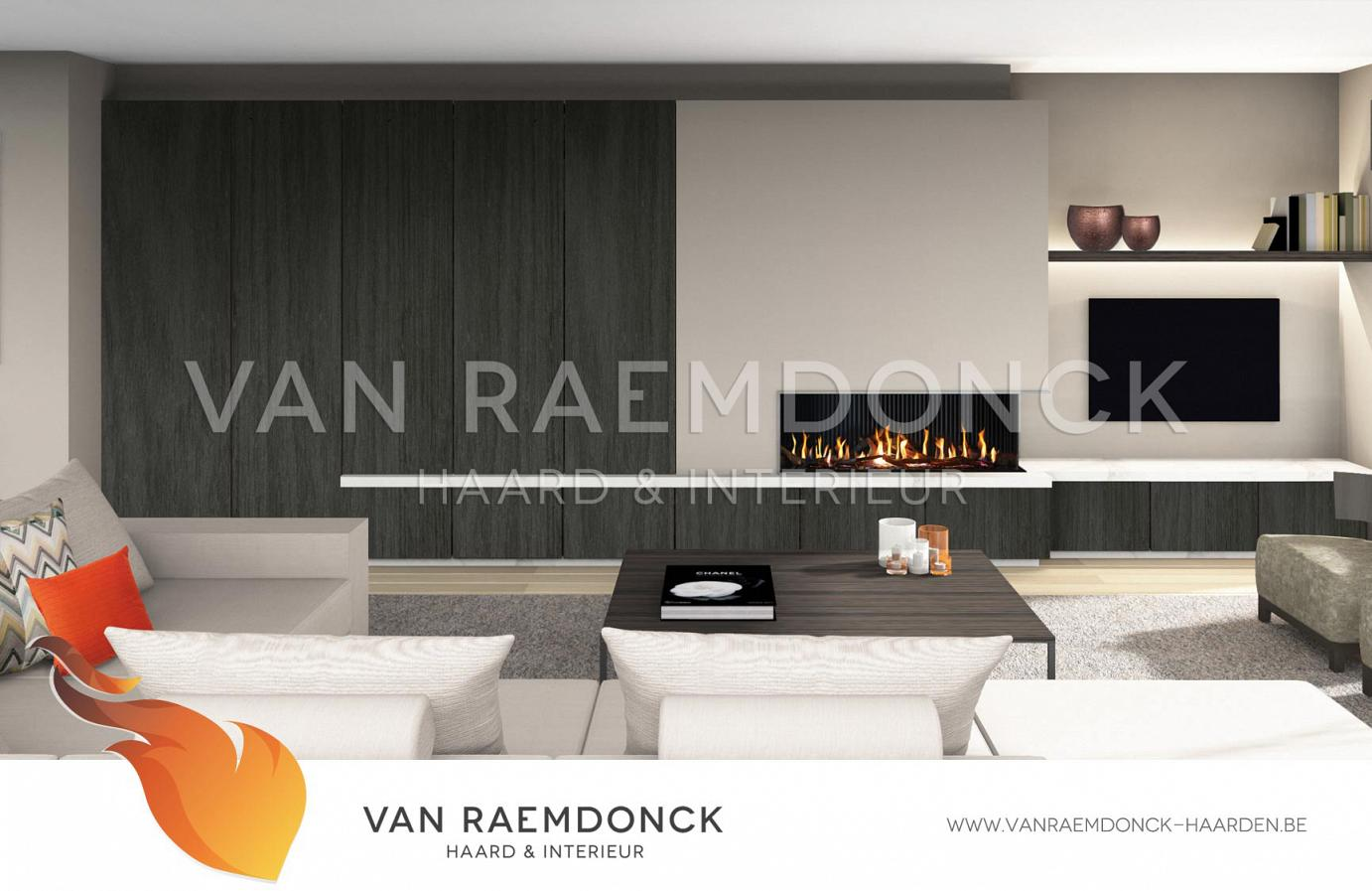 moderne haard met tv en kasten van raemdonck haard. Black Bedroom Furniture Sets. Home Design Ideas